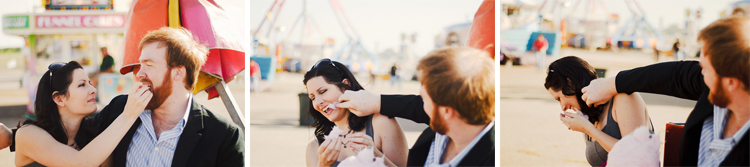 cotton candy being fed engagement pictures