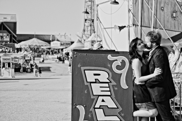 black and white freak show engagement session
