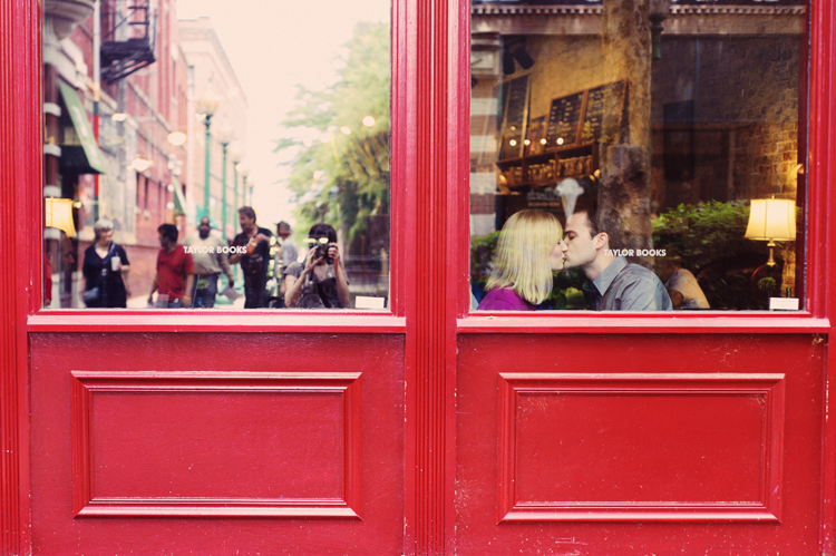 window kiss bright red taylor books engagement session charleston west virginia romantic