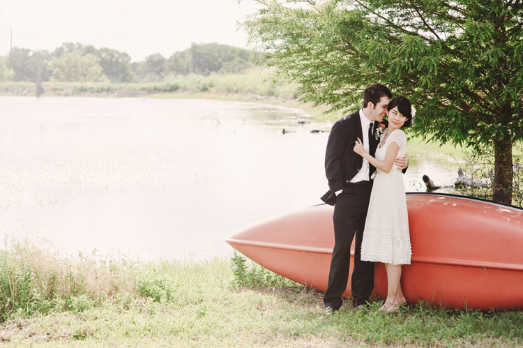 red canoe wedding photos