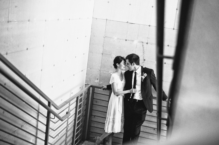 stairwell photo of tea length wedding dress