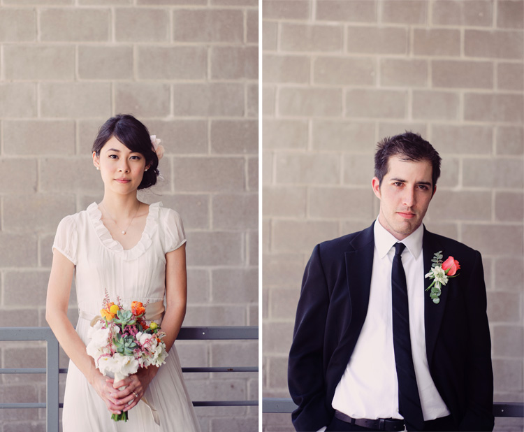 tea length dress hipster couple wedding