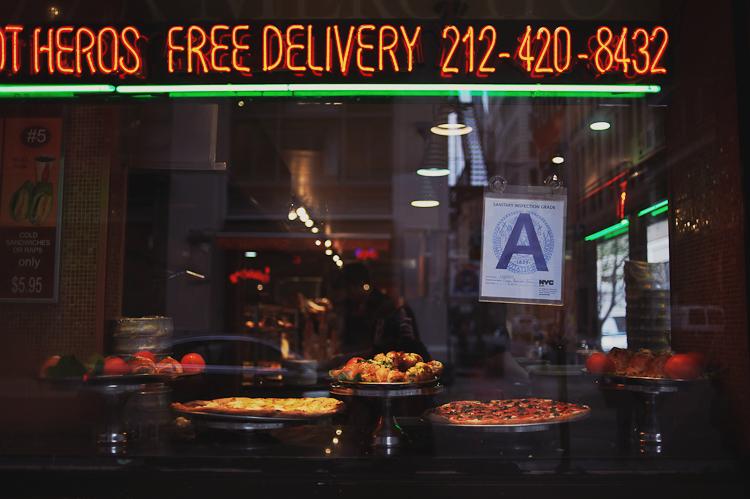 italian food in window in NYC