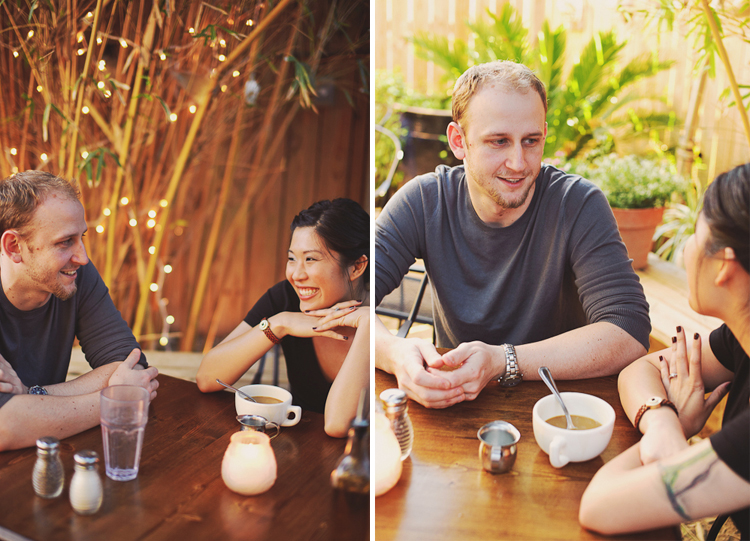 adorable cafe engagement pictures