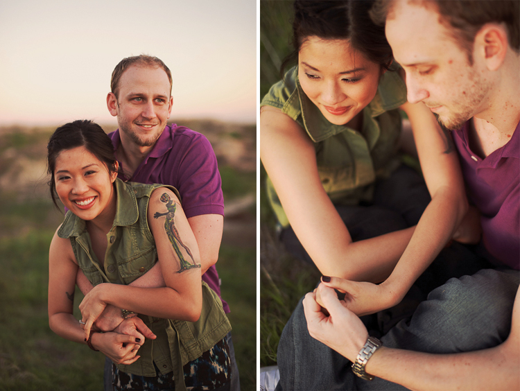 cute couple in field engagement session