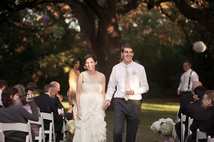 walking down the aisle after just being married