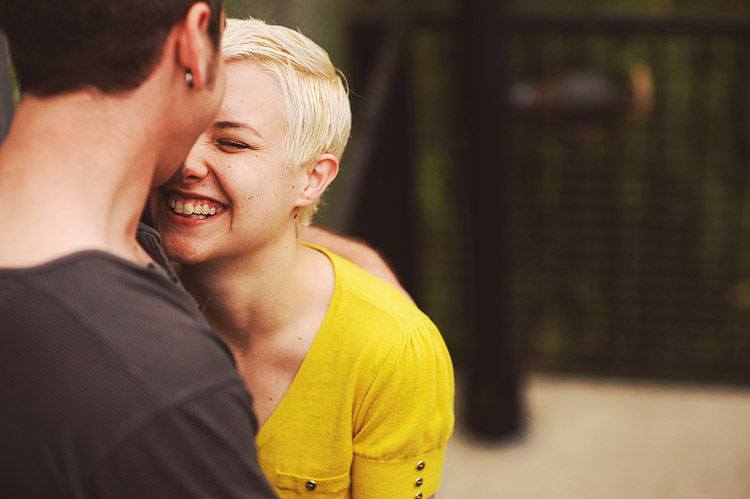 cute yellow shirt engagement photos