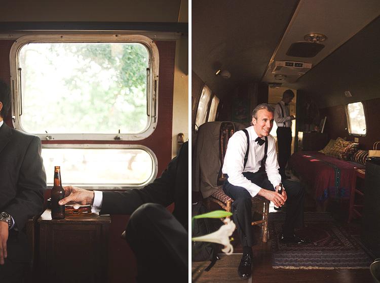 groomsmen getting ready in trailer