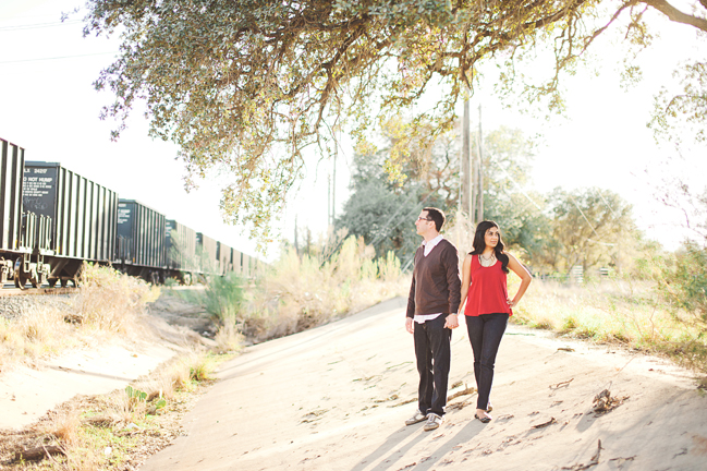 train station engagement session