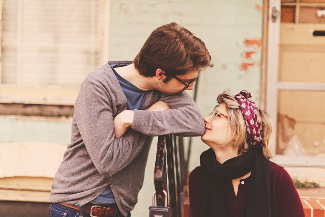 cute hipster couple engagement pictures