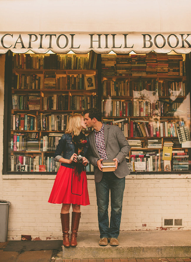 capitol hill bookstore engagement picture