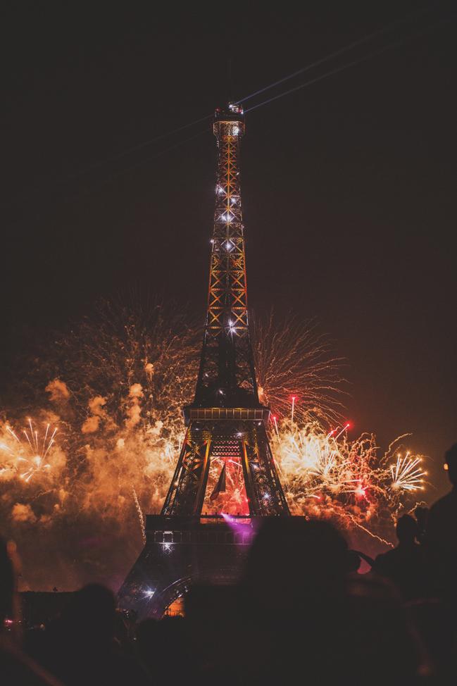 fireworks at effiel tower Bastille Day