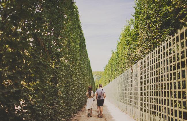 walking through Versailles gardens
