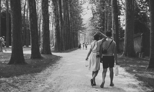 walking through trees in Versailles