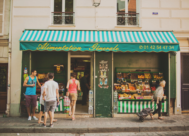 green market storefront in paris france