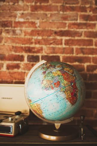 vintage globe in photography studio