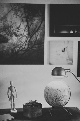 moon themed interior design in studio