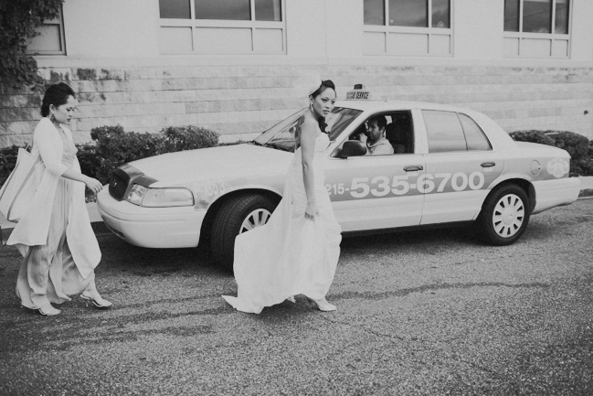 bride and taxi