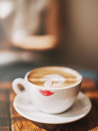 lipstick on a coffee glass