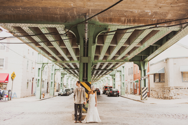 wedding portraits under a bridge