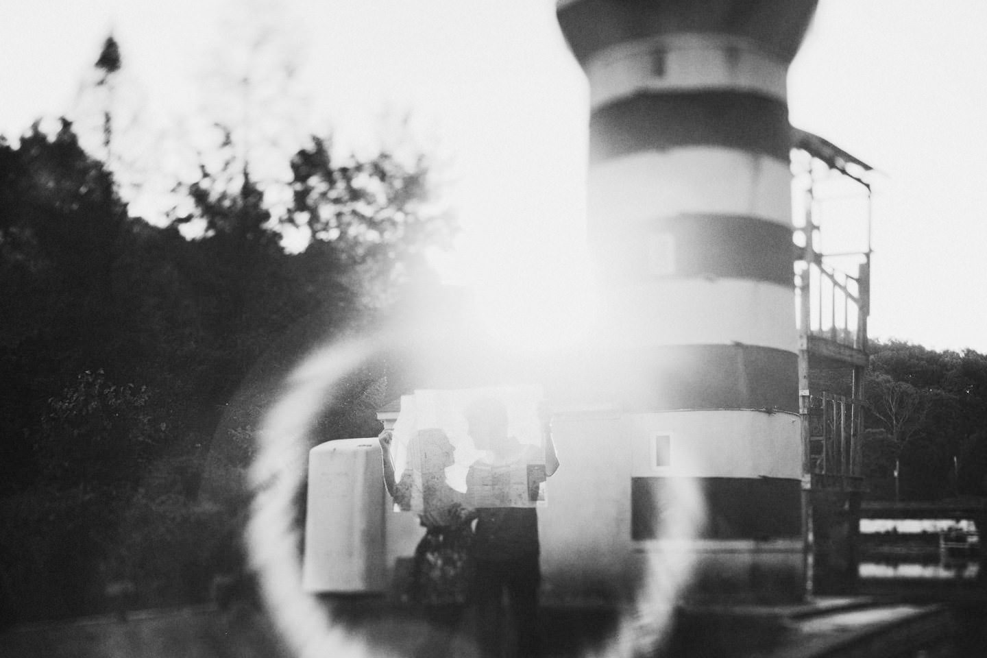 wes anderson inspired engagement pictures lighthouse