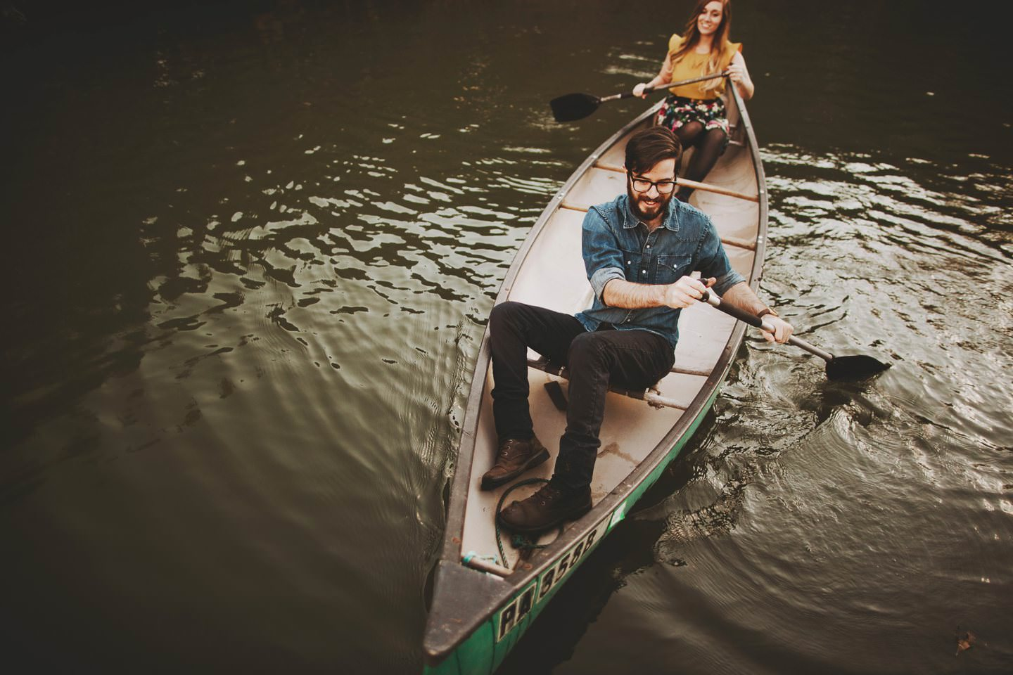 hipster engagement session canoes