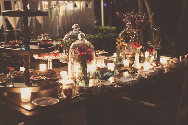 nessa k 58 nightime dessert table at backyard wedding Farm Wedding in Frederick MD: Katy and Parkers Backyard