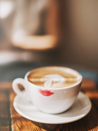 lipstick on a coffee glass