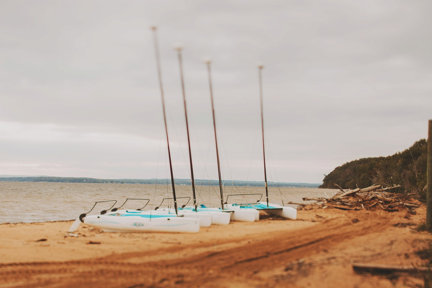 boats on beach at northbay adventure camp