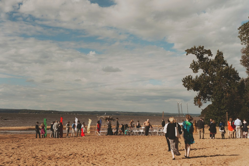 camp wedding at beach