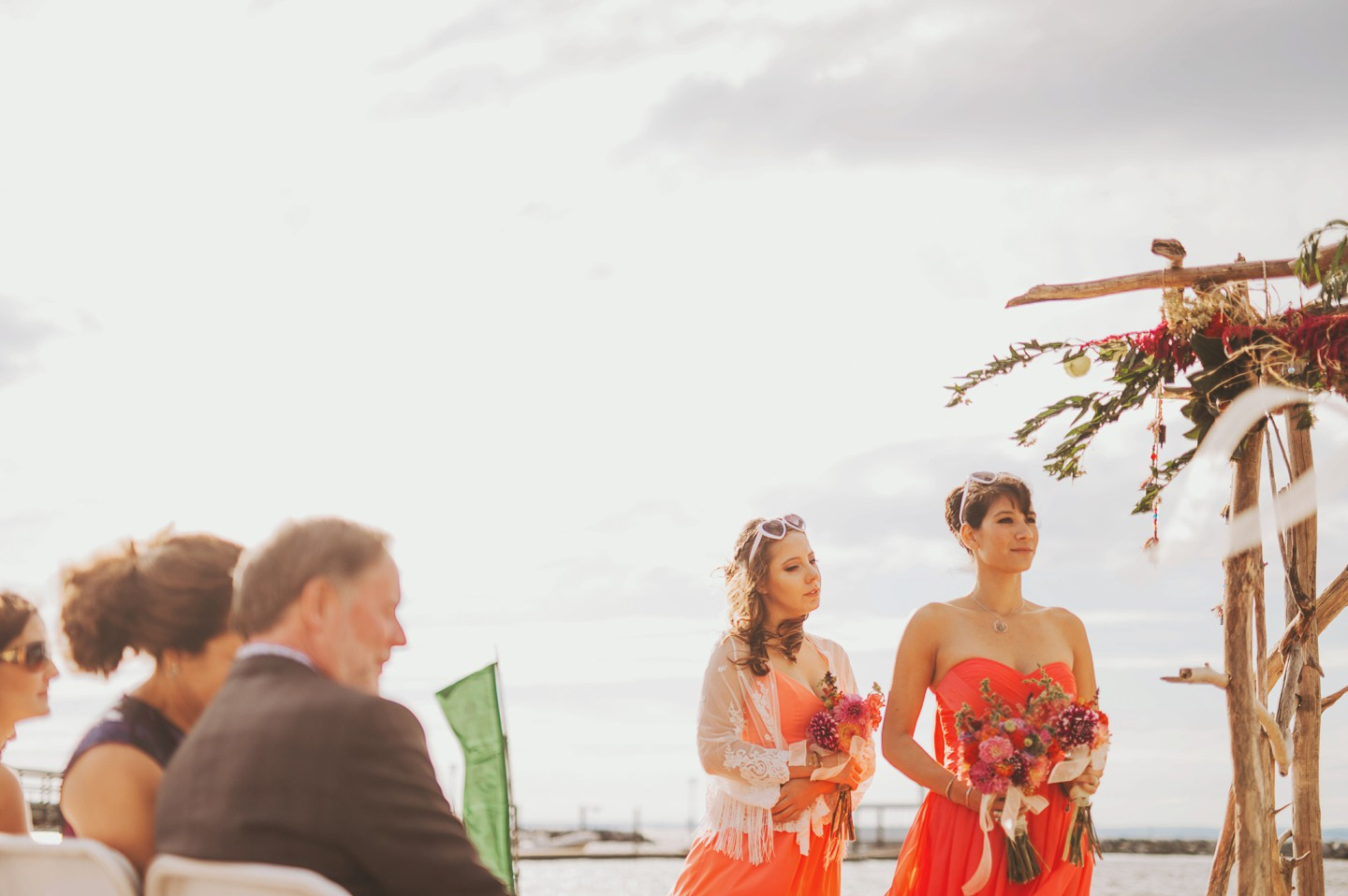 orange details for beach wedding