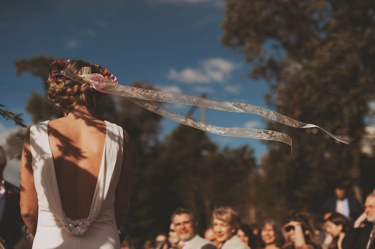 bride streamers flowing in wind
