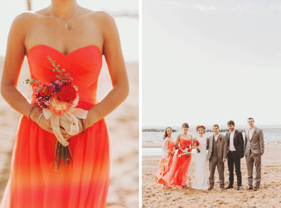 orange bridesmaids dresses