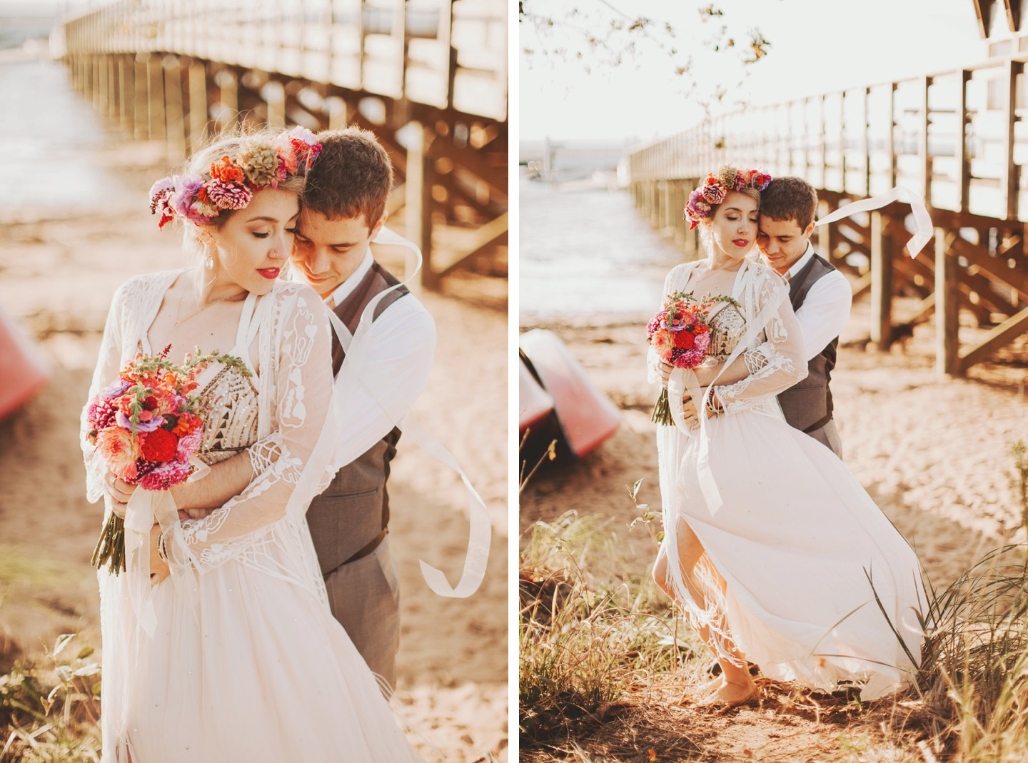 colorful canoe wedding photos