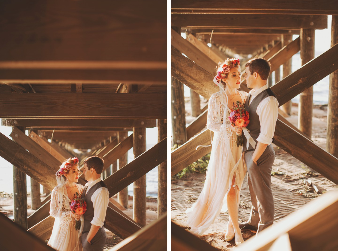 under dock wedding portraits