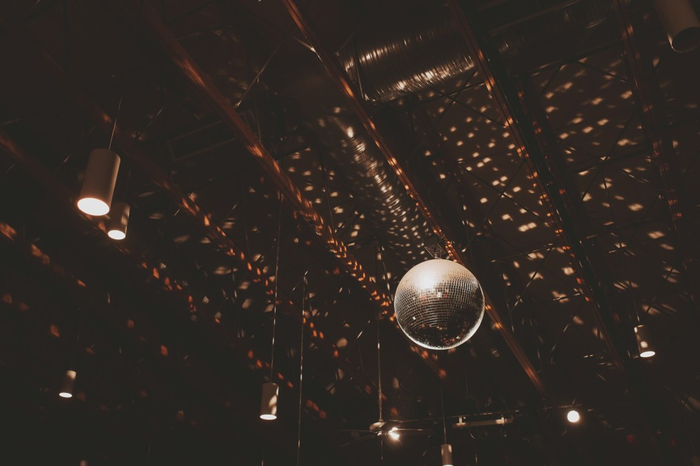 disco ball wedding photos