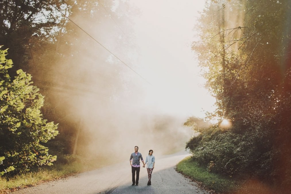 beautiful foggy sunrise engagement pictures