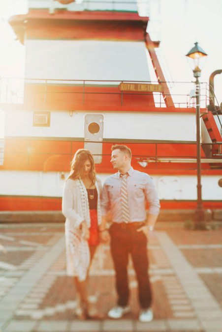 beautiful red tugboat engagement pictures