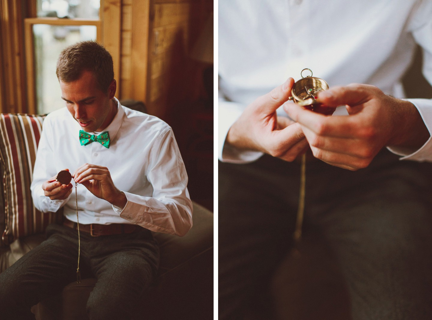 green bowtie wedding details compass