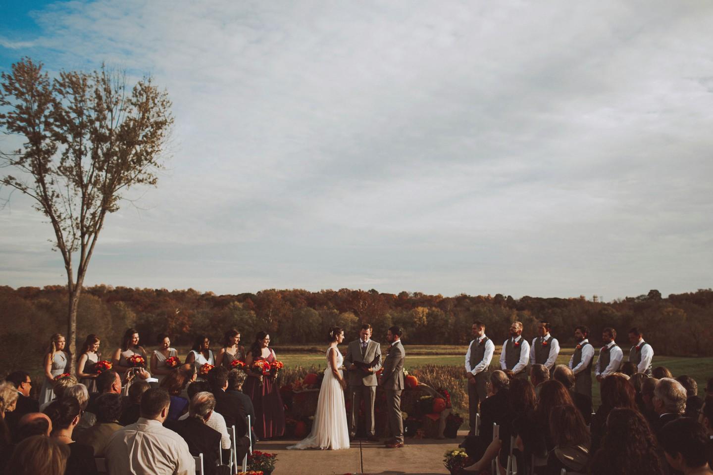 beautiful autmn wedding ceremony Riverside on the Potomac