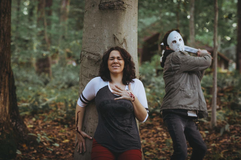 halloween themed engagement photographs