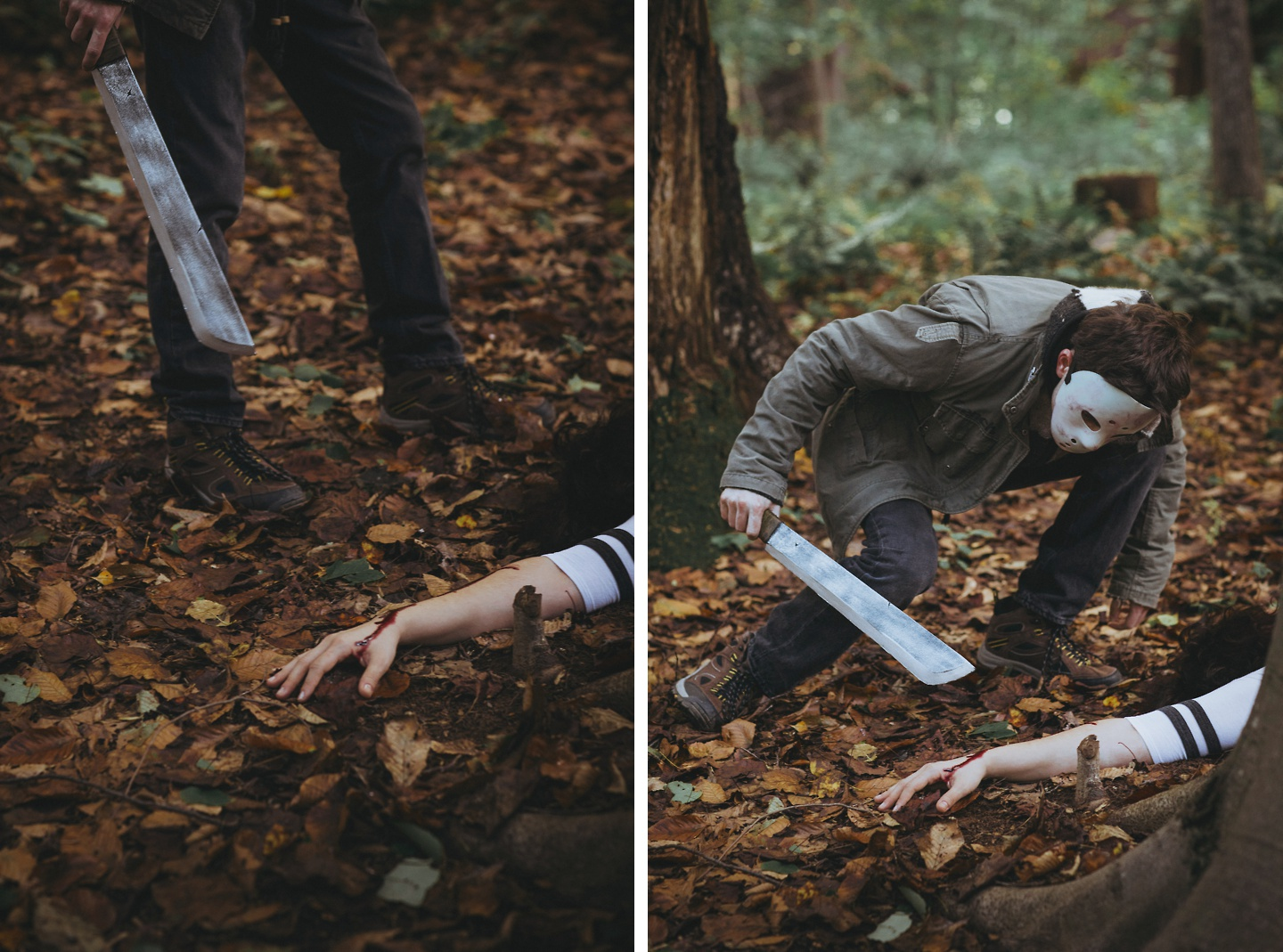 halloween jason themed engagement pictures