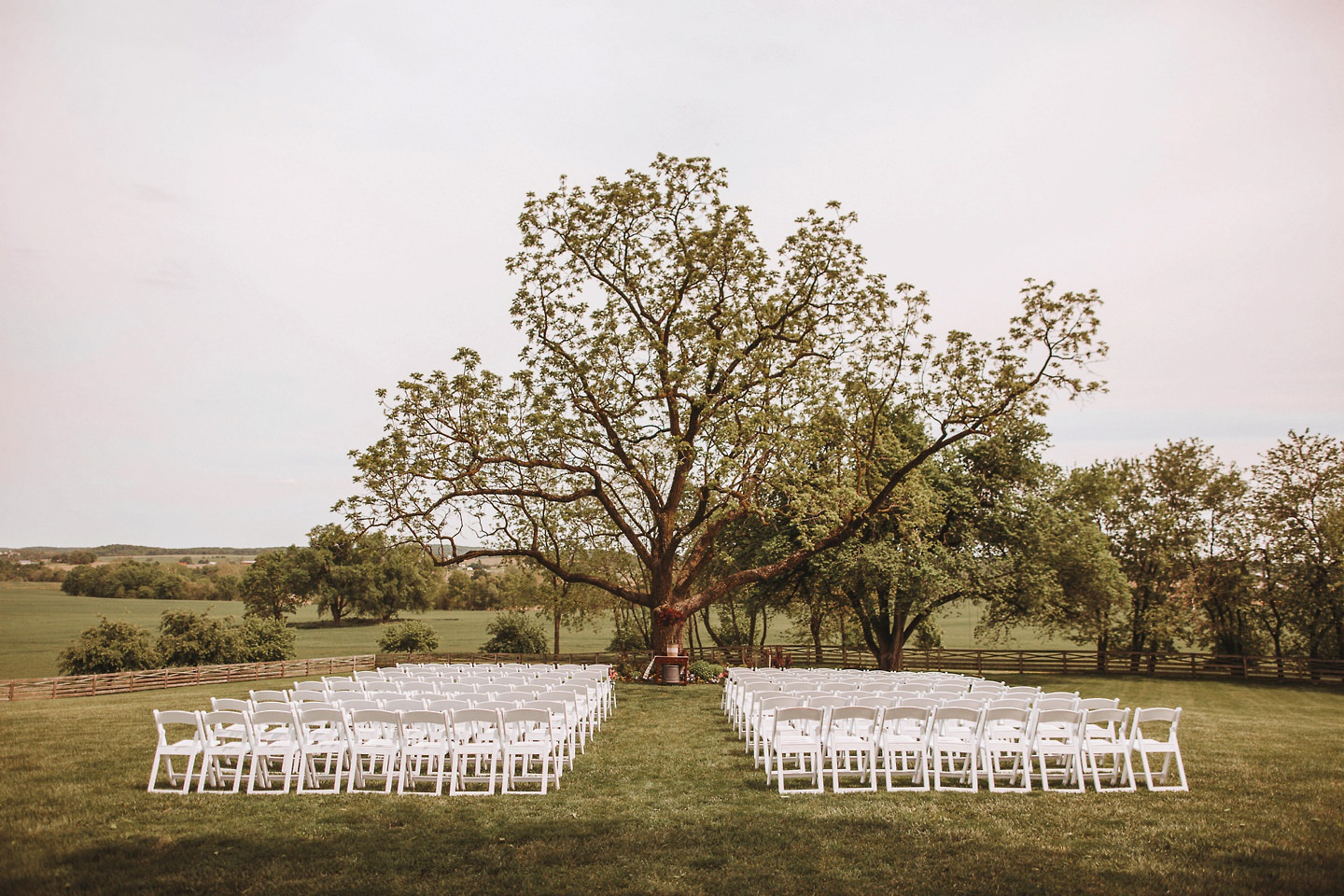 walkers overlook wedding ceremony set up
