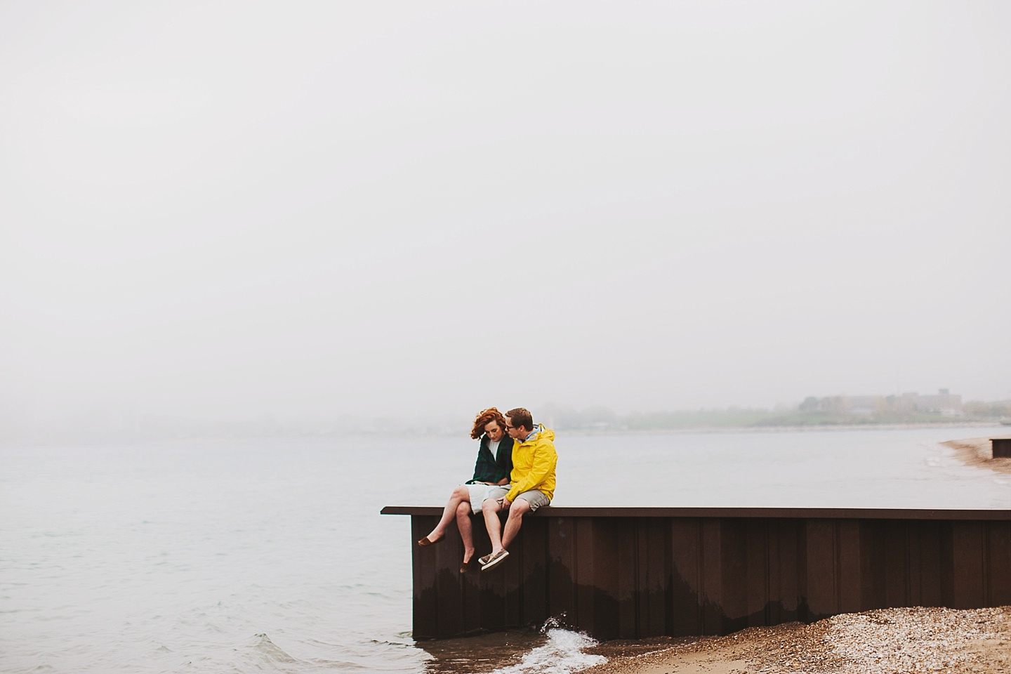 cold beach couples session