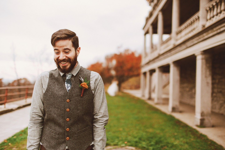 overlook wedding first look in pennsylvania