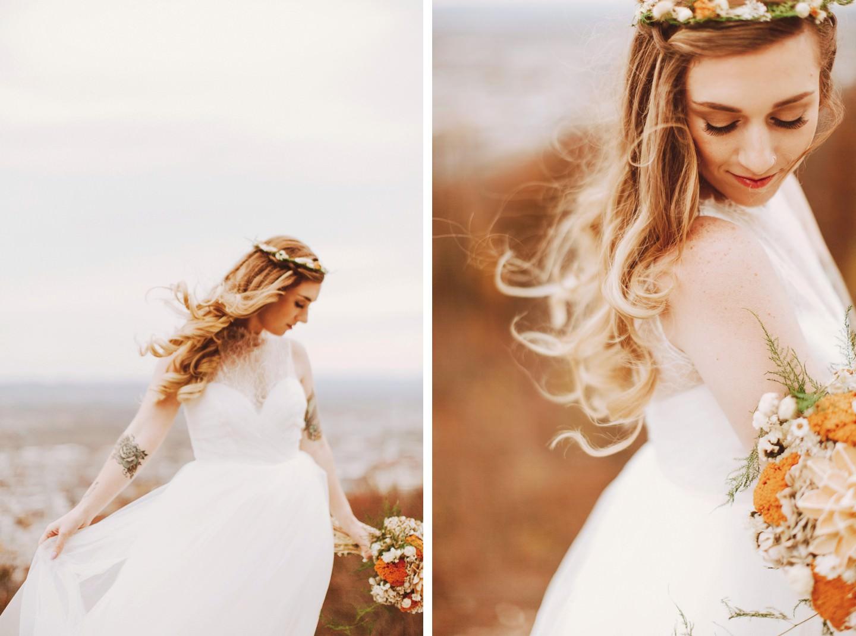 bride on a hillside in PA