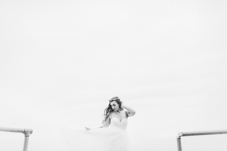bride in wind