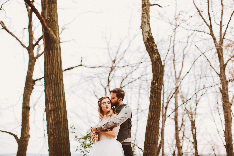 bare trees wedding photos
