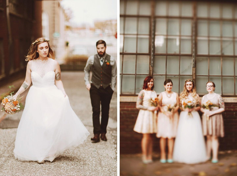 wedding photos in industrial background