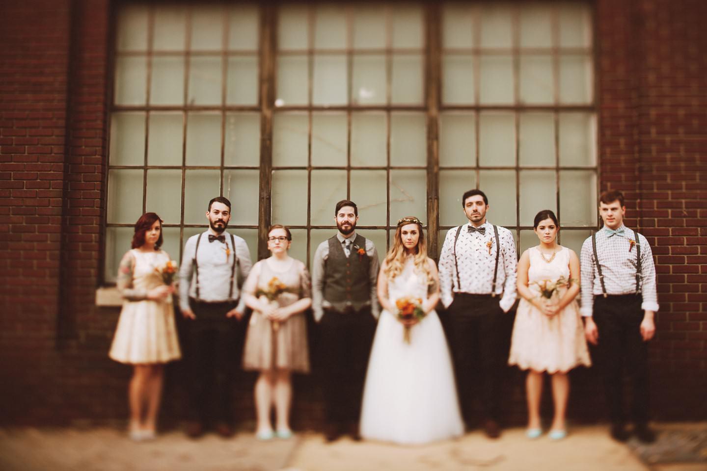industrial wedding party photos